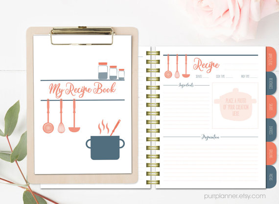stylish printable recipe book coral and navy binder blank recipe