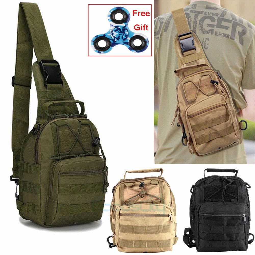 fb0114ff5115 Mens Molle Tactical Sling Chest Bag Assault Pack Messenger Shoulder Bag  Backpack