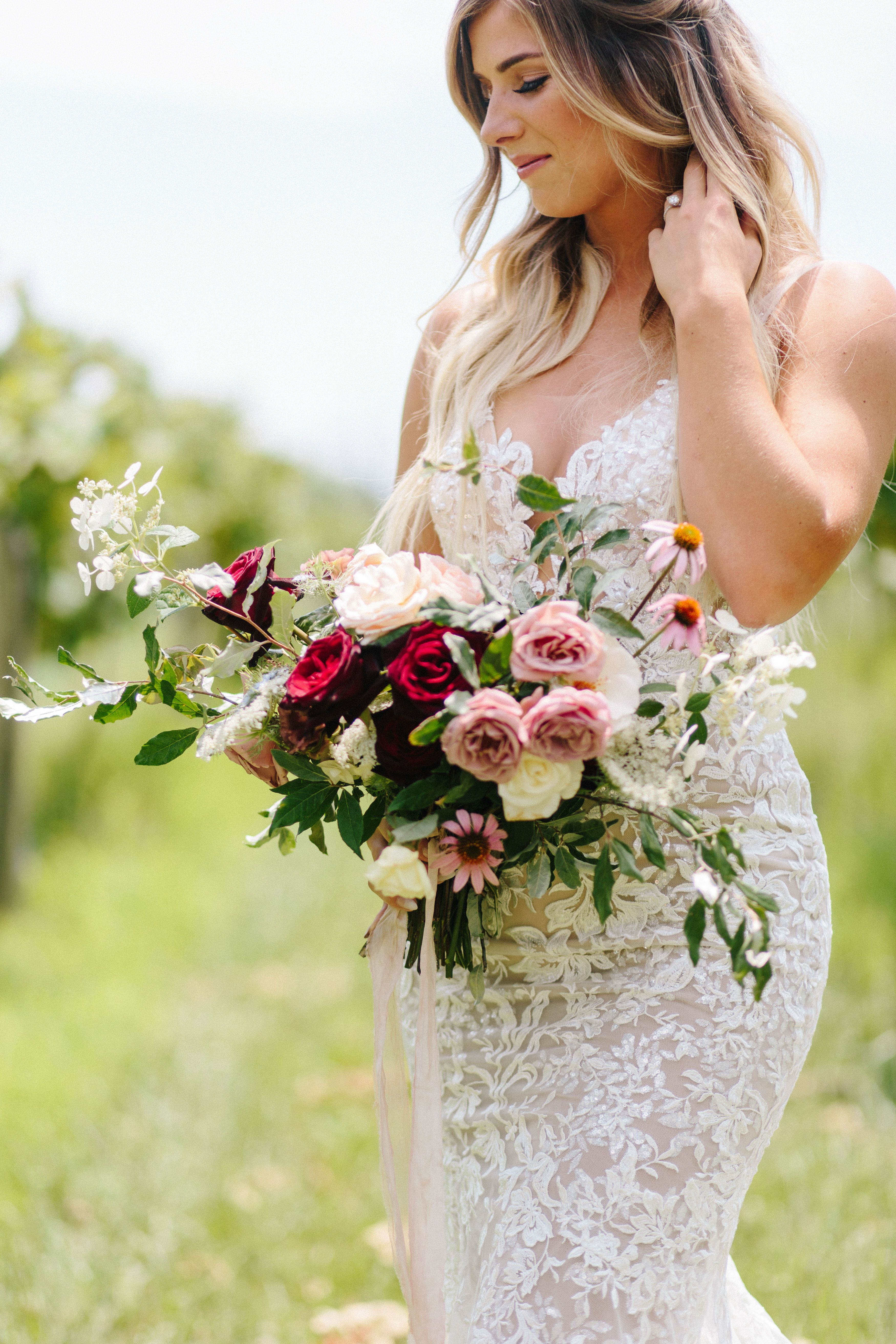 Hand Tied Rose Queen Anne S Lace And Purple Coneflower Bouquet