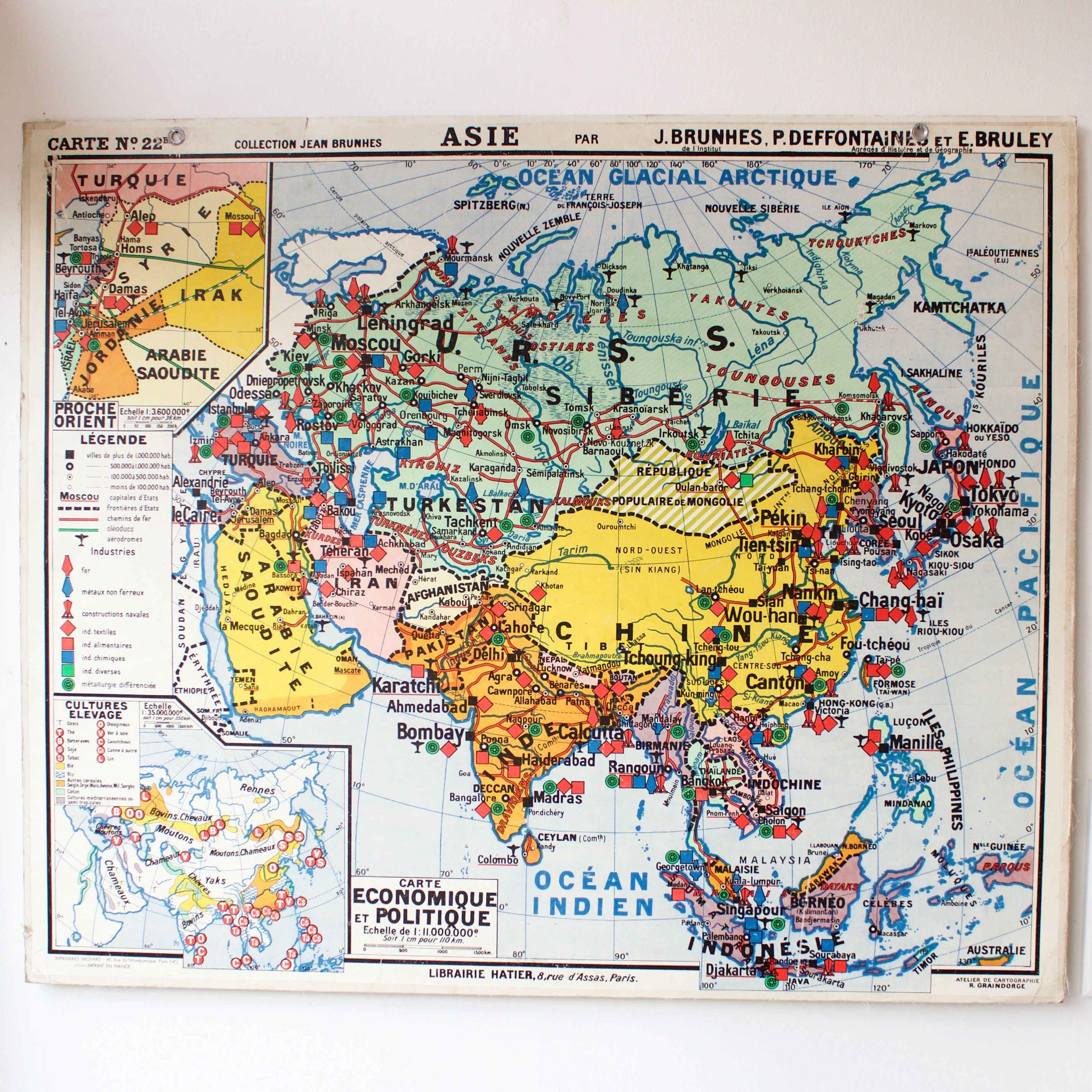 Map Of Asia In French.Carte Scolaire Ancienne N22 Asie French Vintage School Map Asia
