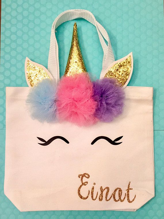 Small Unicorn Tote With Name Birthday Gift Crafts Diy Bag