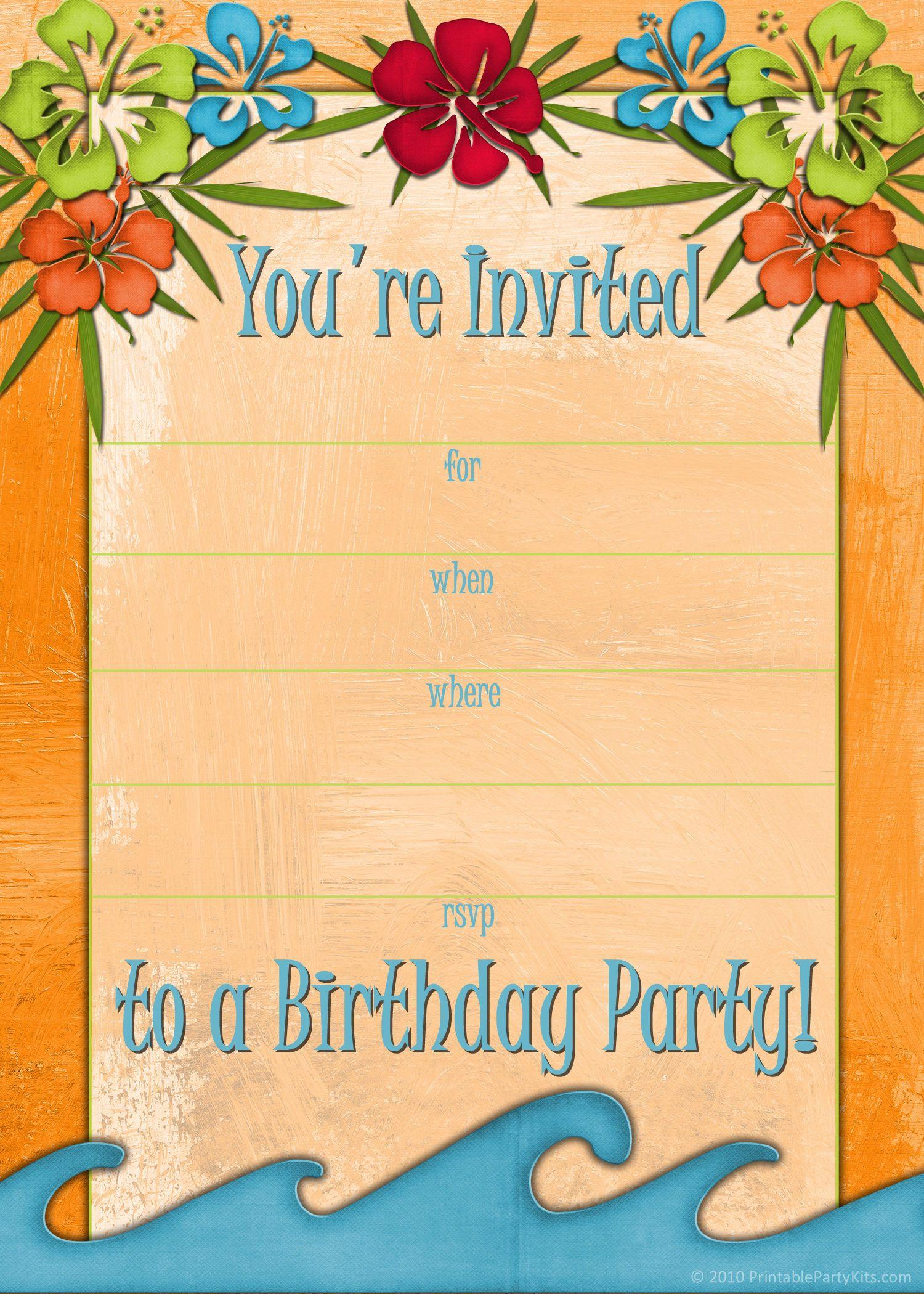Free printable beach party luau and bbq invitations