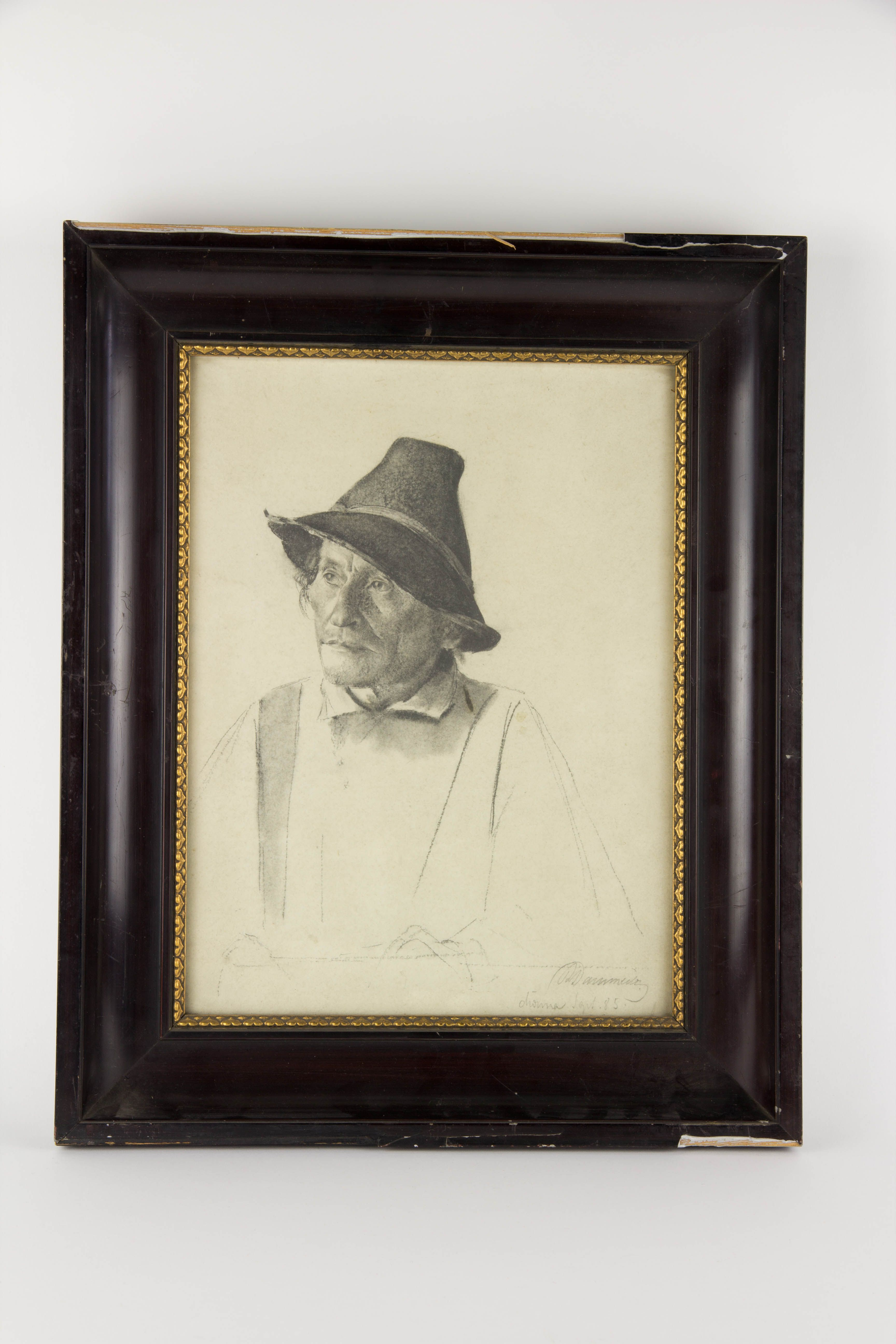 Portrait, süddeutsch, 1885, undeutlich signiert, Mischtechnik, Mann ...