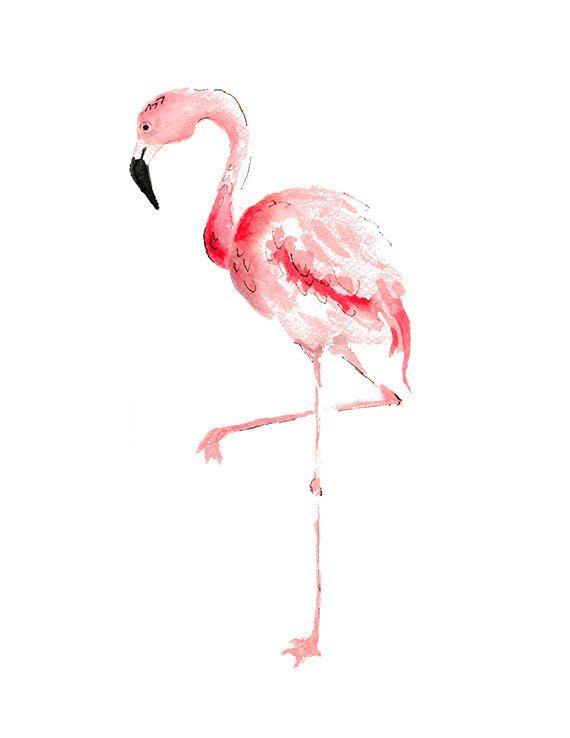 Pink Flamingo Watercolor Painting Print Flamingo Wall Art Home