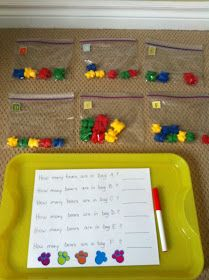 There are so many fabulous ideas on Pinterest!   We made the Counting Bears in a Bag  activity.   I used our Three Bear Family Counters  an...