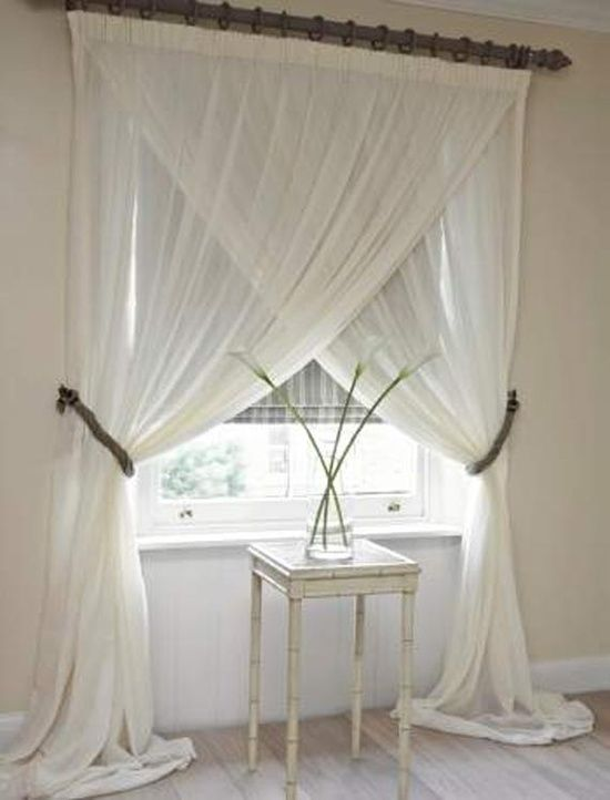 Cute way to hang drapes crossed over each other Home sweet home - rollos für die küche
