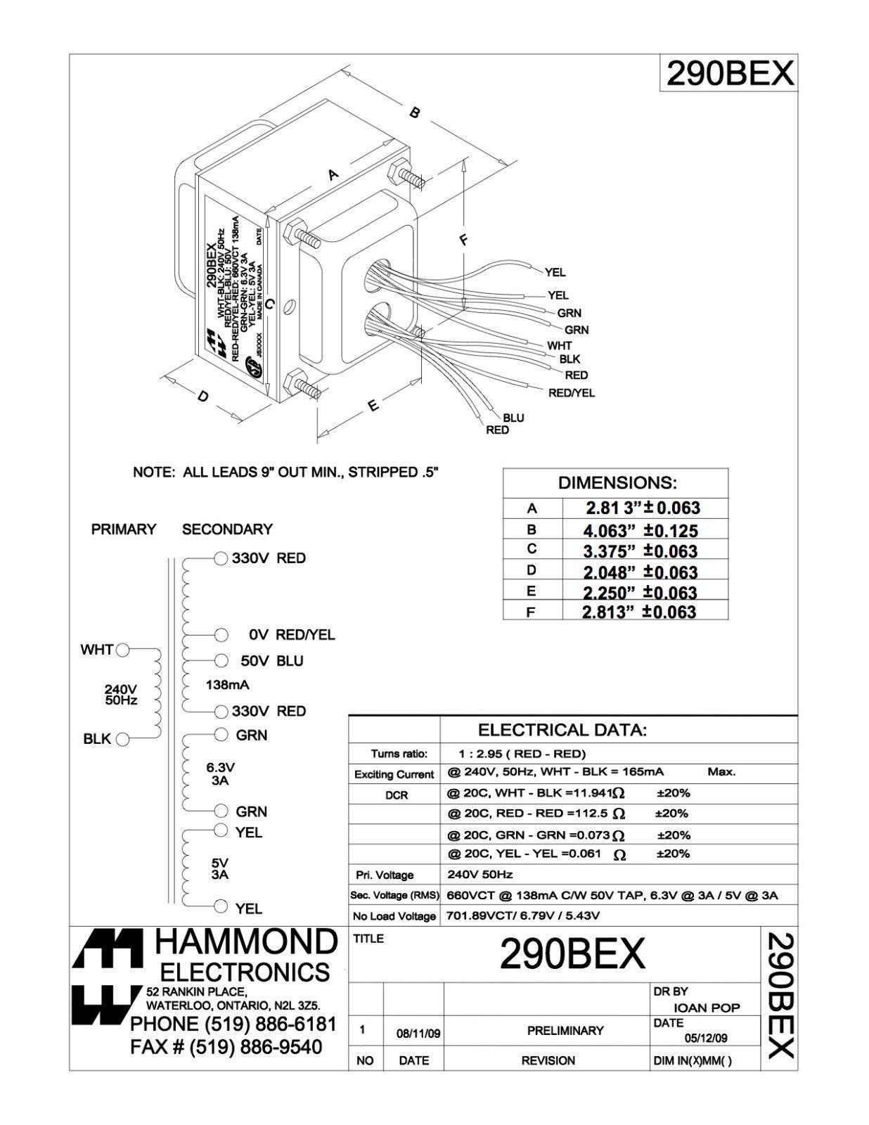 Hammond 290 Bex 240v Mains Power Transformer For Fender