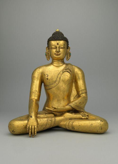 BUDDHA SHAKYAMUNI14TH CENTURYNorthwestern Nepal (Khasa Malla Kingdom)Gilt copper alloy with turquoise inlayRubin Museum of Art
