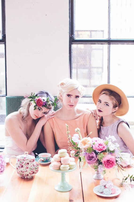 bridal shower teparty decorations%0A This unique pastel bridal party shoot by Myles Katherine is filled with  rebel spirit though it looks sweet and glam  Myles Katherine imagined a  modern brid