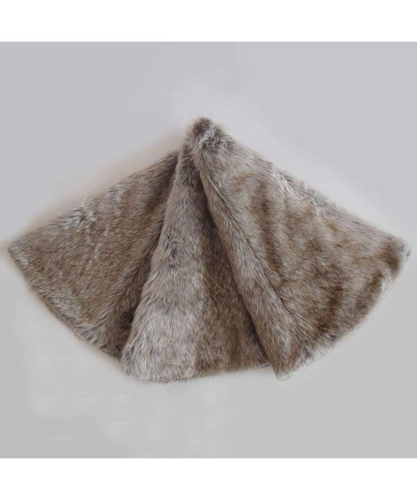 Deluxe Grey Soft Plush Faux Fur Christmas Tree Skirt ...