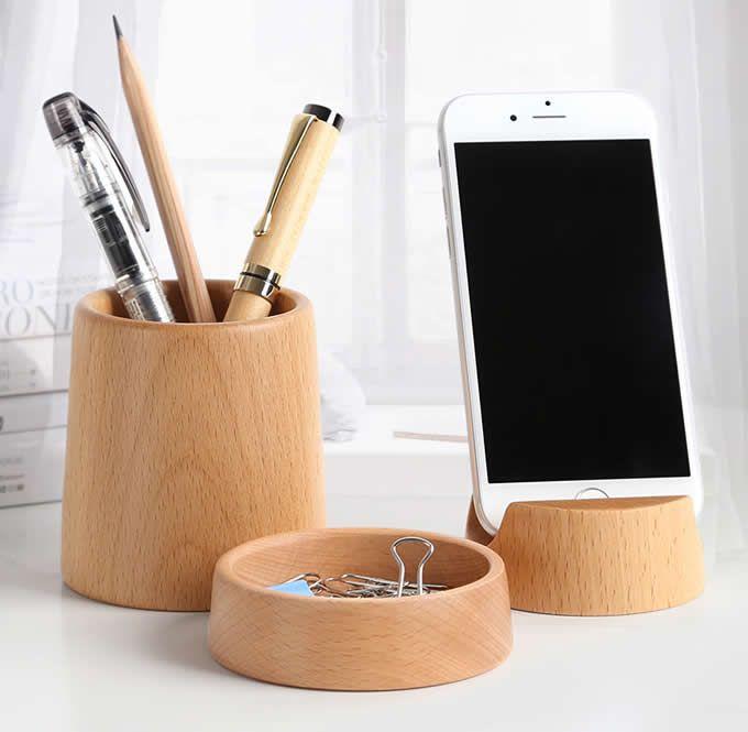 Wood office desk organizer set phone stand pencil holder wood office desk organizer set phone stand pencil holder business card holder colourmoves