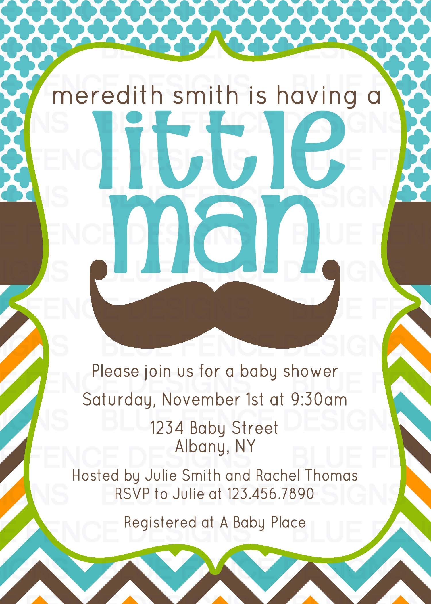 Mustache And Bow Tie Baby Shower Invitations Part - 44: Mustache Baby Shower Invitation