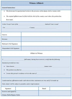 witness affidavit form Witness Affidavit Form | Affidavit Forms | Pinterest