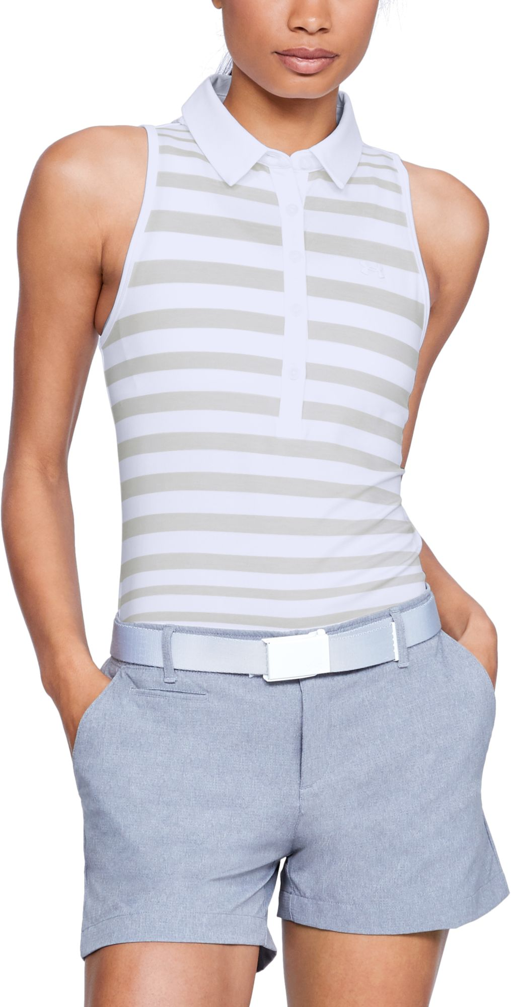 963accc5 Under Armour Women's Zinger Novelty Wide Stripe Sleeveless Golf Polo, Size:  Large, White