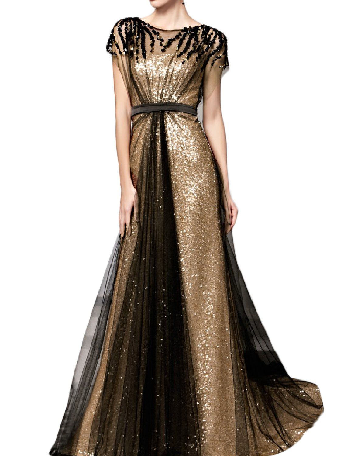 Oyisha womens long sequins aline evening dress formal gowns with