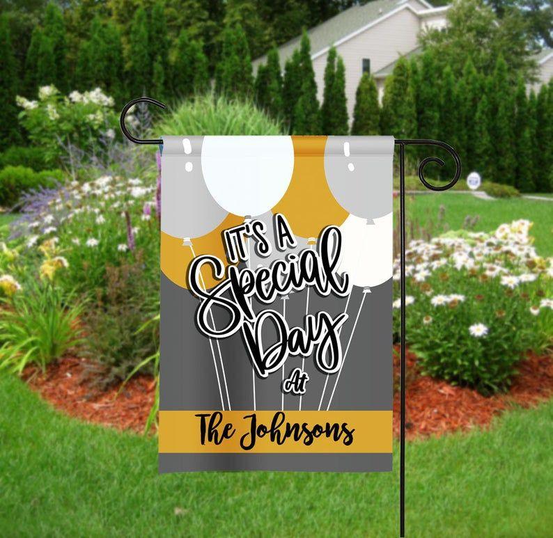 Personalized Special Day Garden Flag Birthday Flag Party Etsy Personalized Garden Flag Personalized Flag Birthday Flags