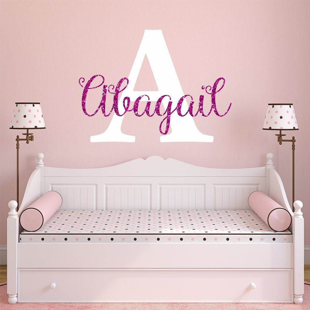Nursery pink sparkle custom name wall decal sticker   by  also girl rh pinterest