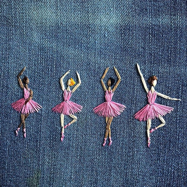 "Embroidery on Instagram: ""#Repost @the_sewing_songbird 💕 ~ ~ ~ ~ ~ #stitchedart #naiveart #wip #artprocess #embroidery #inspired #ballerinas #ballet #dance #upcycled…"""