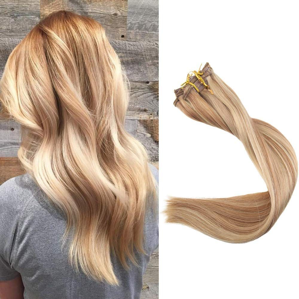 Full Shine 20 Inch Highlight Hair Extensions Clip in Human
