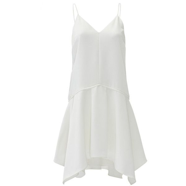Rental camilla and marc White Ripolin Dress (930 ARS) ❤ liked on Polyvore featuring dresses, white, asymmetrical dress, v neck dress, full skirt, no sleeve dress and camilla and marc