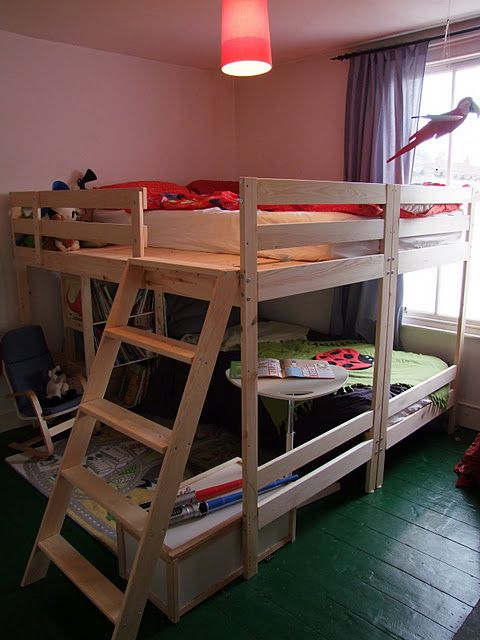 ikea mydal bunk beds x2 turned into double bed top bunk bed w twin bottom bunk interior. Black Bedroom Furniture Sets. Home Design Ideas