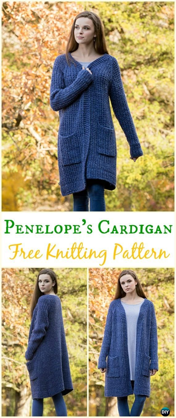Women\'s Penelope\'s Cardigan Sweater Free Knitting Pattern - Knit ...