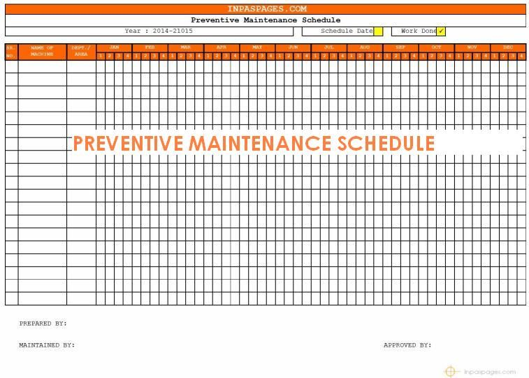Preventive maintenance schedule template httplonewolf preventive maintenance schedule template httplonewolf software pronofoot35fo Gallery