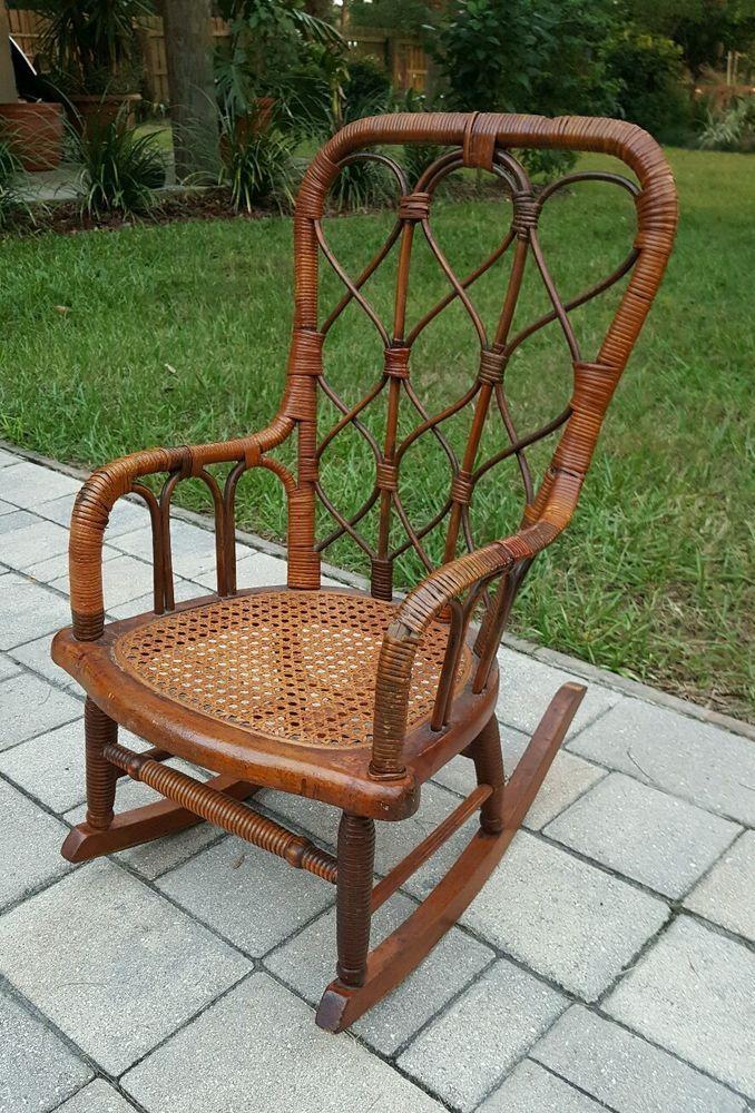 Antique Wood Frame Wicker Childs Rocking Chair Rocker Cain