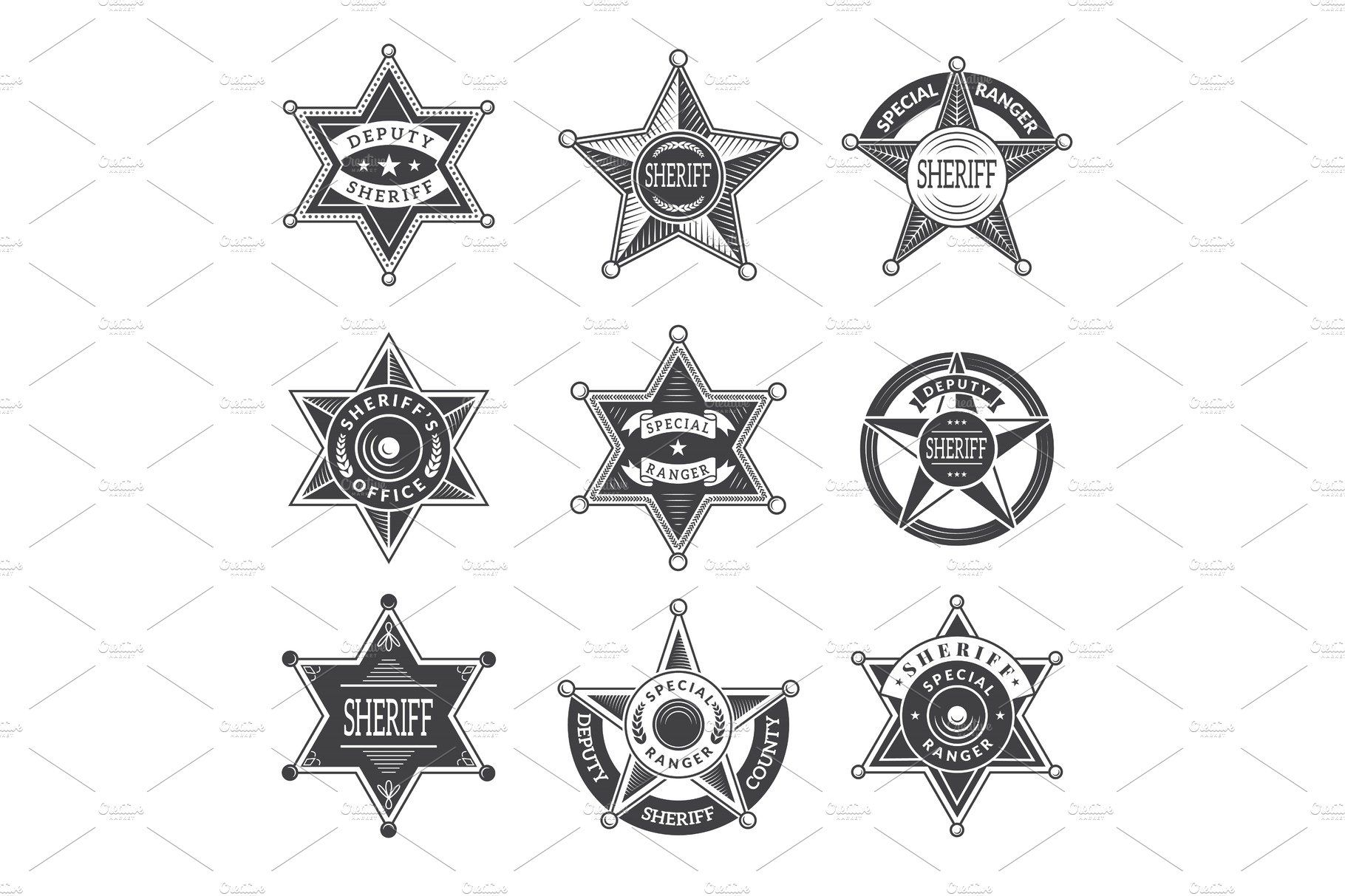 Sheriff stars badges. Western star by Onyx on