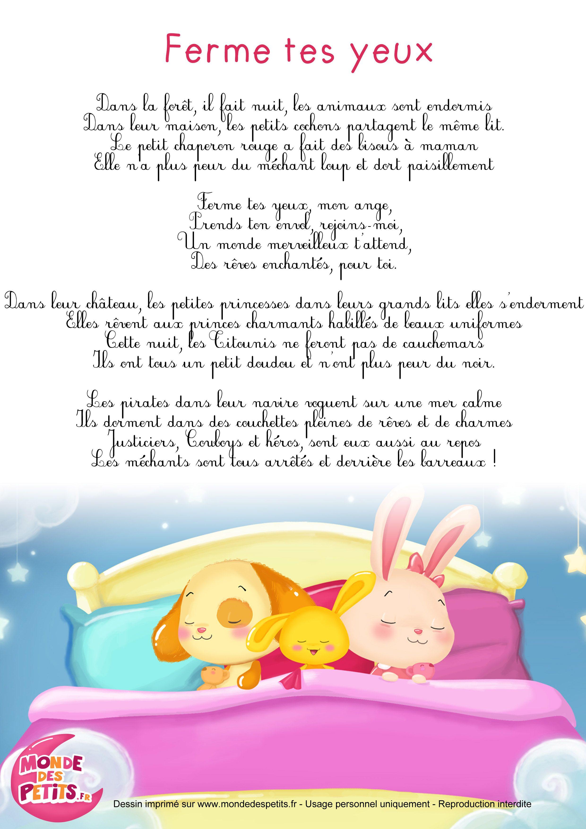 Parolesberceuse Monde Des Petits Ferme Tes Yeux Franséisch
