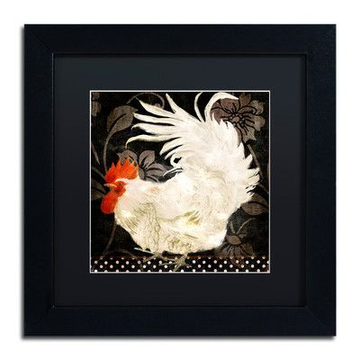 "Trademark Art 'Rooster Damask I' Framed Painting Print Size: 11"" H x 11"" W x 0.5"" D, Mat Color: Black"