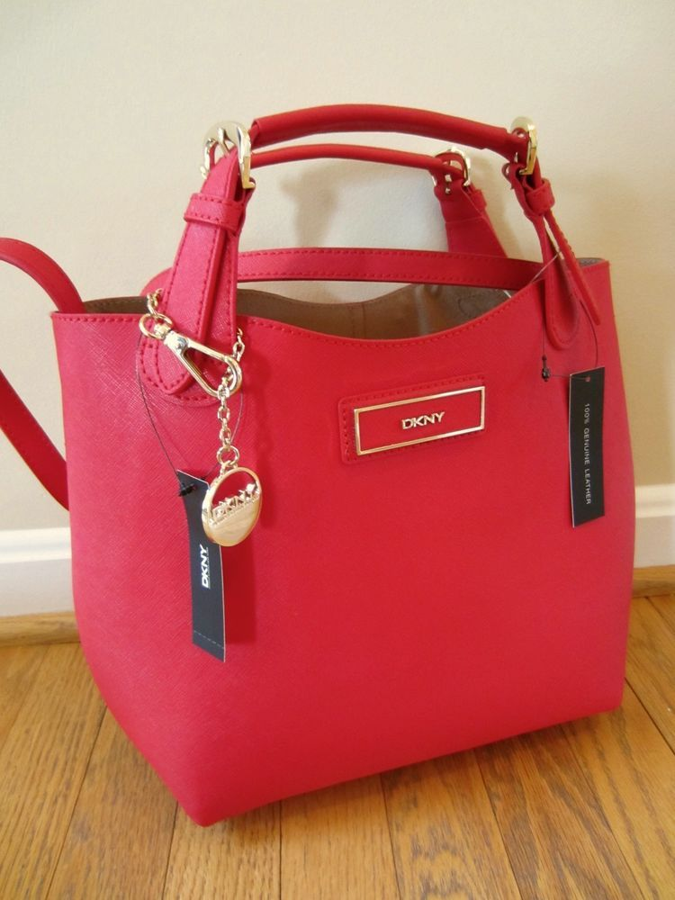 DKNY Donna Karan Red Saffiano Leather Tote Satchel Bag Purse Handbag NWT