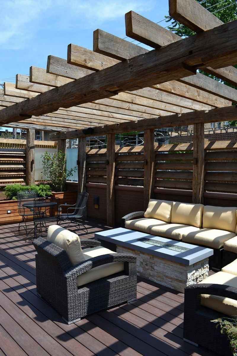 This Contemporary Lincoln Park Home Features The Only Pergola In Chicago Made Completely From Reclaimed Barn Timbers