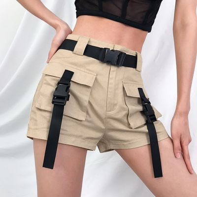 Street beat bag buckle tooling short female straight pants from FE CLOTHING 1