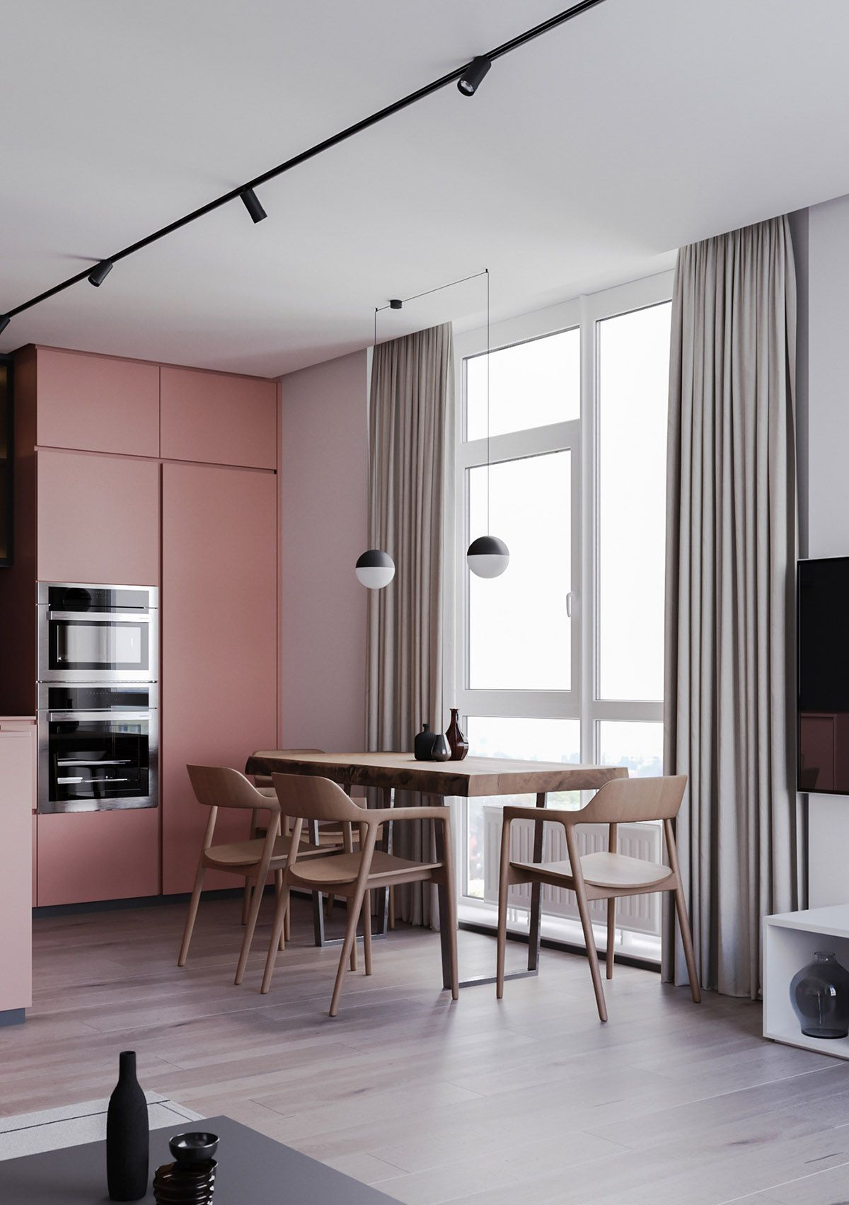 striking example of interior design using pink  grey also amazing kitchen remodel if you ve the small rh pinterest