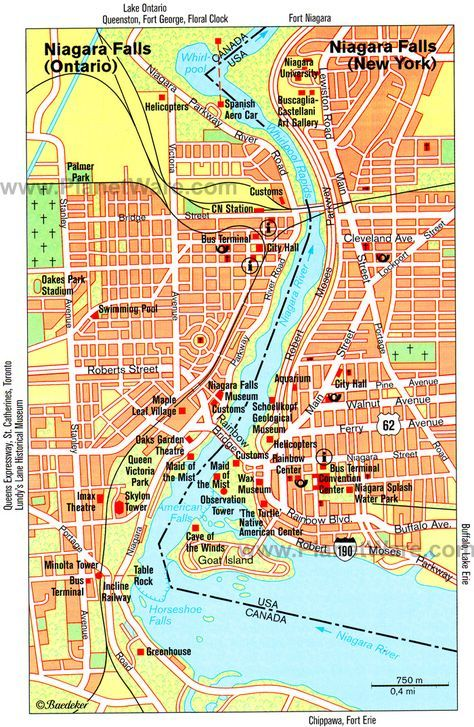 Map Of Canada New York Border.Map Of Niagara Falls Attractions Planetware Travel In 2019