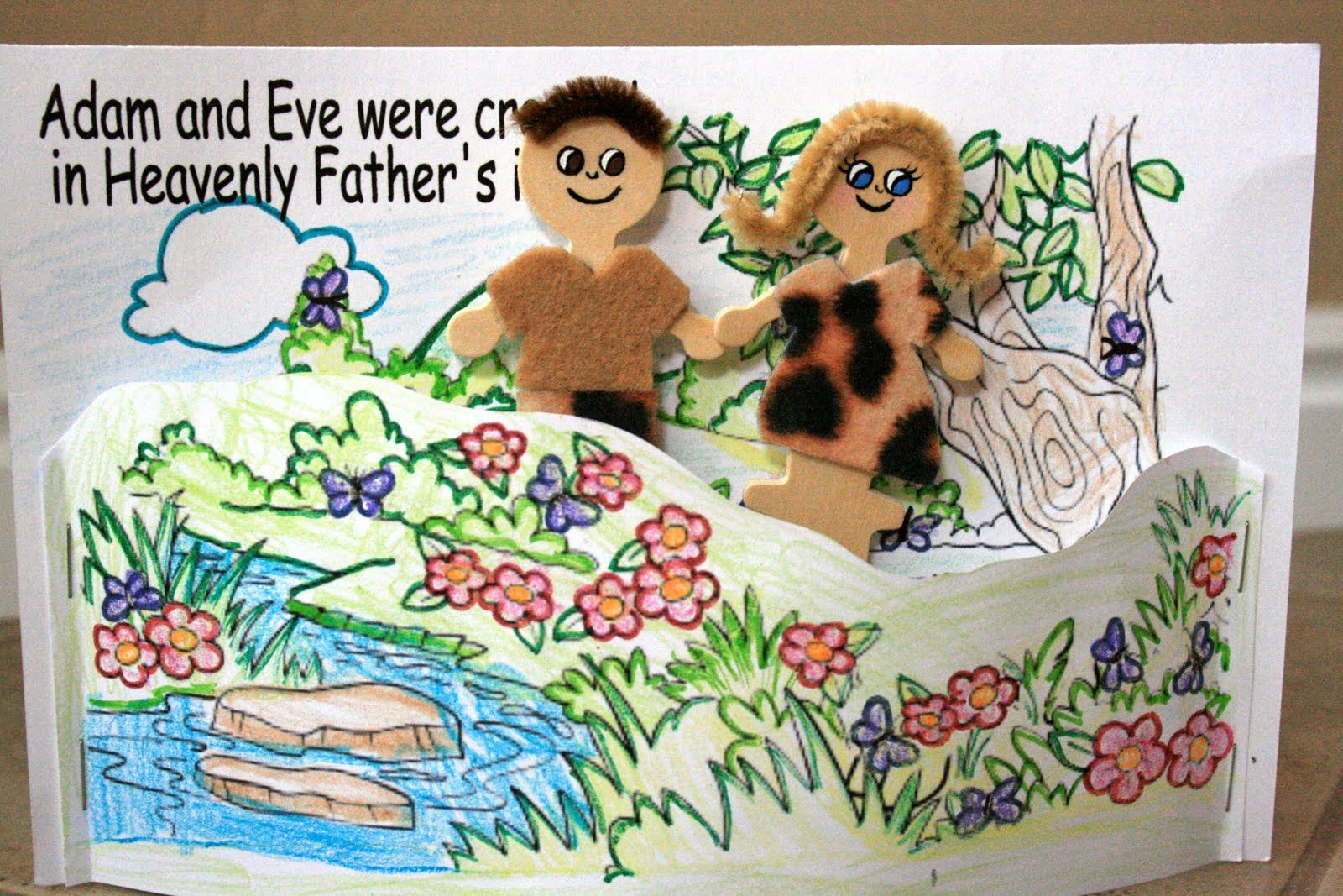 Adam & Eve stick puppets. This craft will help you prepare your ...
