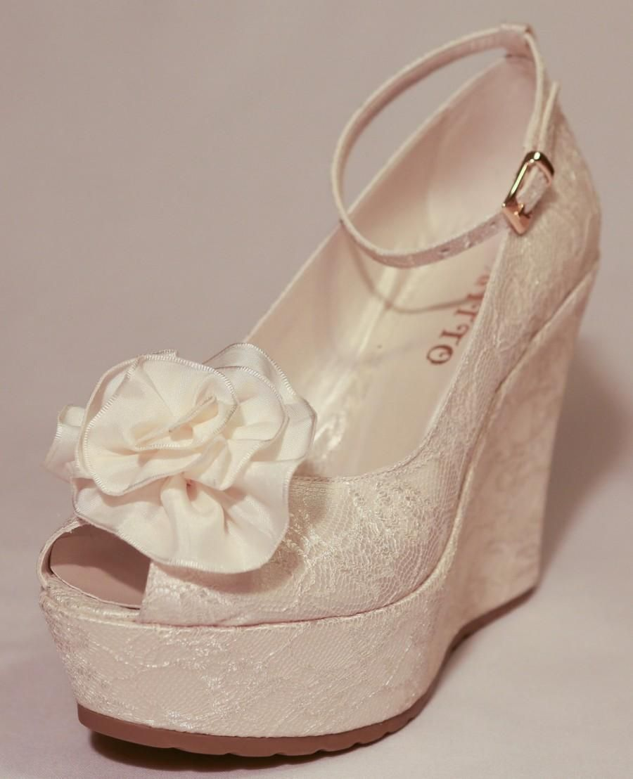 Wedding Wedding Shoes Bridal Wedge Shoesbridal Shoes Bridal Platform Wedges Bridal Wedge Shoes Ivory Lace Wedges Shoes Wedge Wedding Shoes Wedding Shoes Heels