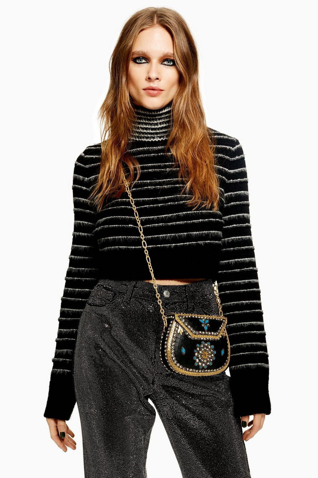 Stripe Funnel Neck Cropped Jumper - Sweaters   Knits - Clothing - Topshop  USA a51026cf1