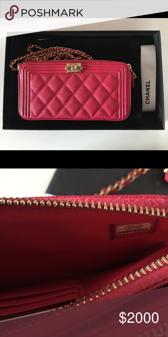 eb0c5d2b244e Chanel fuchsia double zip wallet on chain Auth Chanel Boy WOC Double Zip  Fuchsia Pink Caviar Wallet On A Chain Bag 2017 Purchased for personal  collection.
