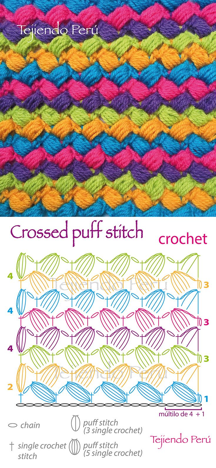 Crochet: crossed puff stitch pattern (or diagram!) | схемы,узоры ...