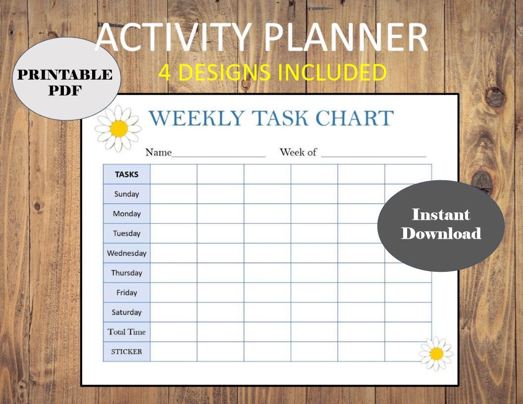 Weekly Planner Tracker Task Chart Printable Routine