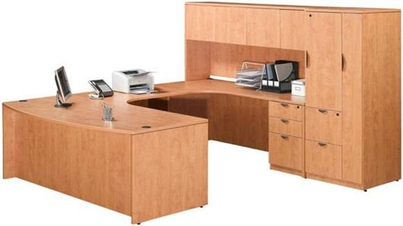 Good Double Pedestal U Shaped Desk With Hutch And Storage Honey Rt Return By  Marquis