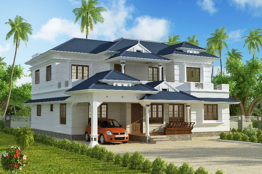 3074 SqFt Kerala Style Home From A-CUBE Builders And