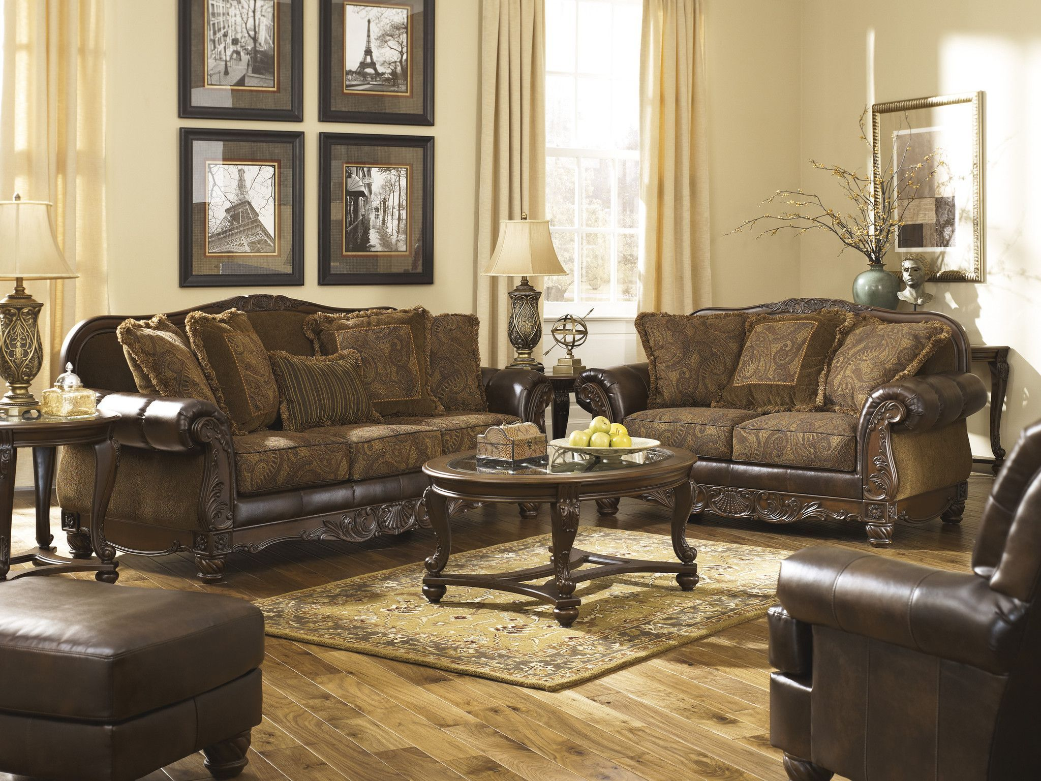Fresco Antique Upholstery Collection Sofa Loveseat