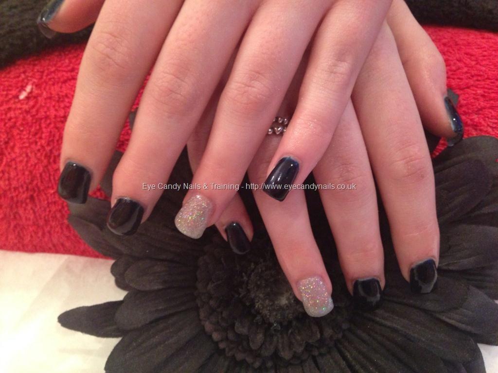 Full set of acrylic nails with midnight satin n silver gel polish ...