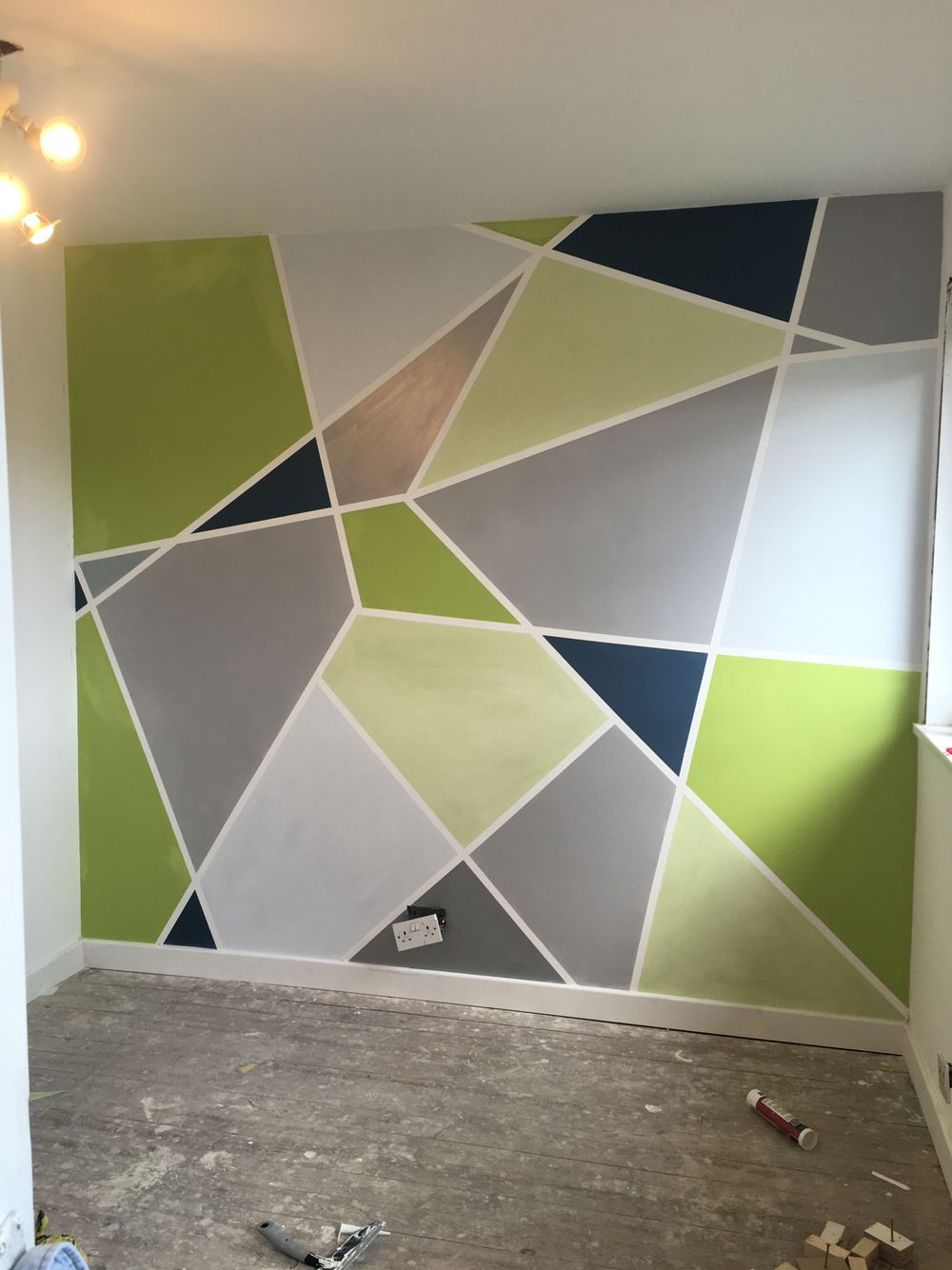 Geometric painted wall - grey, silver, powder blue, apple green & lime!