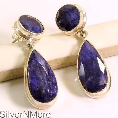 Teardrop Sapphire Earrings .925 Sterling Silver Earrings G147