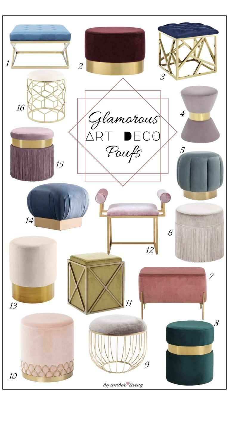 Favorite Art Deco Upholstery Poufs In 2020 Wohnzimmer Dekoration Ideen Art Deco Mobel Mobeldesign