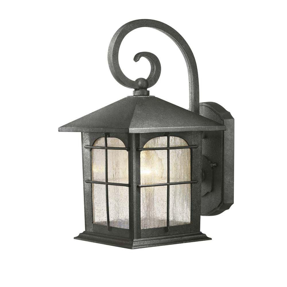 Hampton Bay Wall Mount 1 Light Outdoor Aged Iron Lantern Y37029 151 The Home Depot Outdoor Wall Mounted Lighting Wall Mount Lantern Iron Lanterns